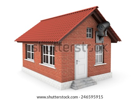 Small House with Security Camera on a white background - stock photo