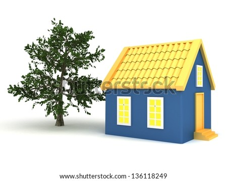 Small house with trees - stock photo