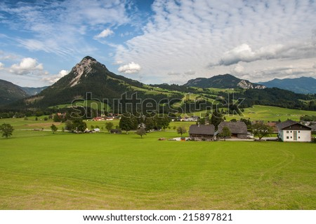 Small houses in high mountains Alps Austria - stock photo