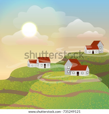 Small houses with red roofs on the hills. Morning, sun, clouds. Raster landscape can be used in newsletter, brochures, banner.