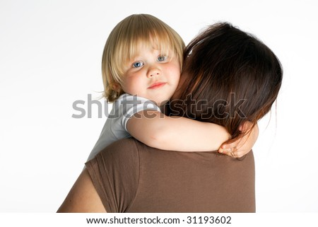 small hugging mum young girl - stock photo
