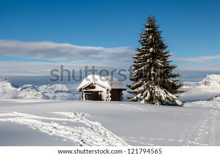 Small Hut on the Mountain Peak in French Alps, Megeve, France - stock photo