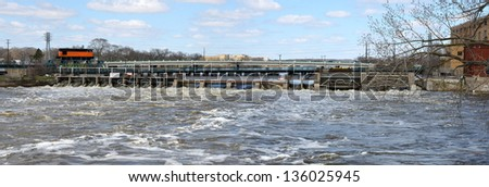 small hydro electric power dam - stock photo