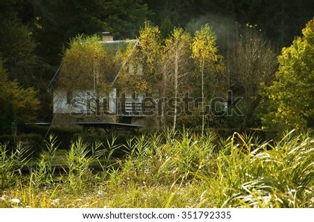 Small idyllic rural cottage hidden behind reeds and birches in nice sunny day in nature on river bank - stock photo
