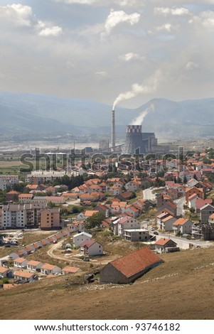 Small industrial town in Bosnia - stock photo