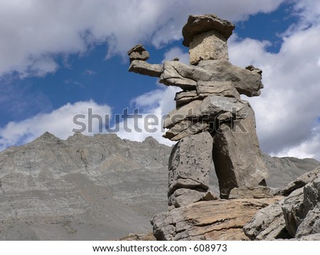 Small Inukshuk, Jasper National Park - stock photo