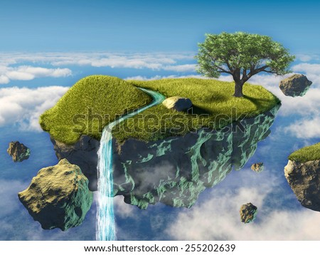 Small island floating in the sky. Digital illustration. - stock photo