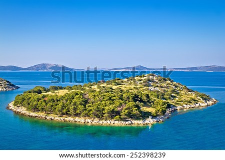 Small island in archipelago of Croatia, Kornati islands national park - stock photo