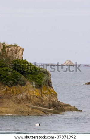 small island in the sea in brittany
