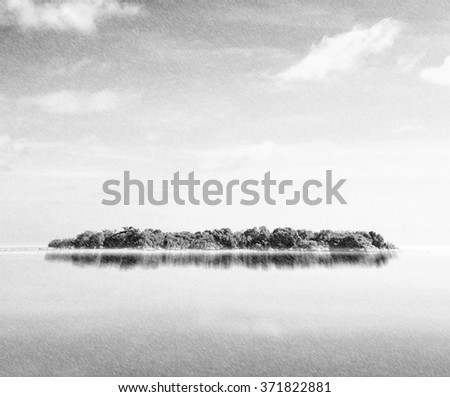 Small island in tropical sea with raining time. - stock photo