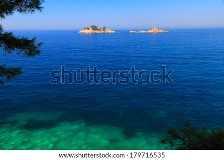 Small islands on the Mediterranean sea - stock photo