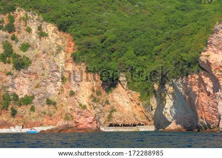 Small, isolated beach on the coastal line of Adriatic sea - stock photo
