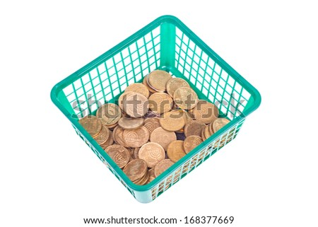 Small Israeli coin with water drops in the basket isolated on white background - stock photo