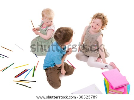 Small kids drawing with pencils. Isolated on white. - stock photo