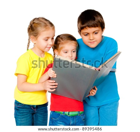 small kids with a book against white - stock photo