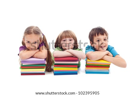 Small kids with books ready for school - isolated - stock photo