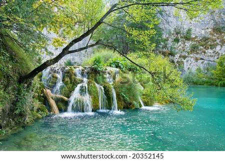 Small lake and waterfall in the Plitvice national park (Plitvicka jezera), Croatia - stock photo