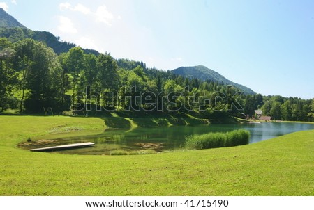 Small lake in alps on a sunny day