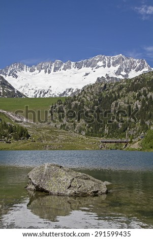 Small lake in Goeschener valley in the Urner Alps - stock photo