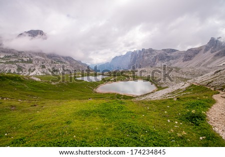 Small lakes on a awesome mountain landscape.