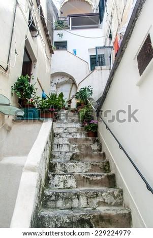 Small lane in a village Atrani at Amalfi coast, Italy - stock photo