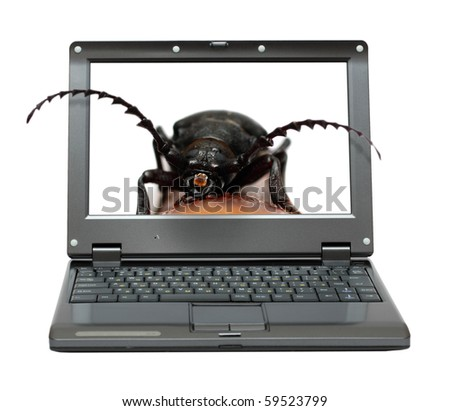 small laptop with bag in software metaphor