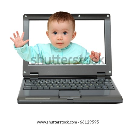small laptop with cute baby stop gesture