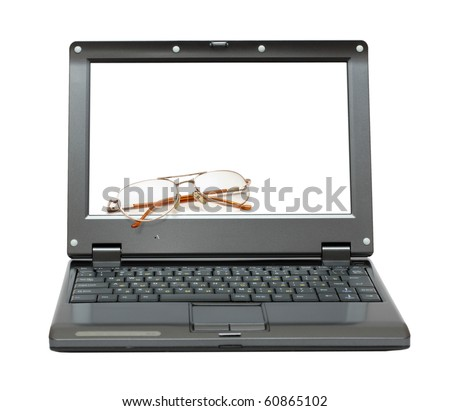 small laptop with eyeglasses out of screen