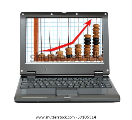 small laptop with increase diagram and abacus