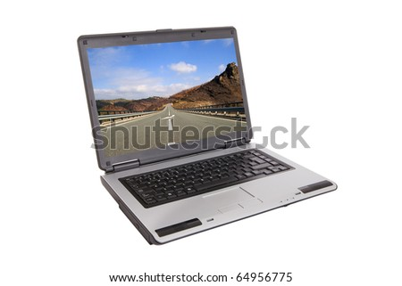 small laptop with infinity road on screen