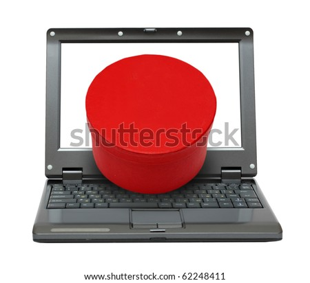 small laptop with red box gift out of screen
