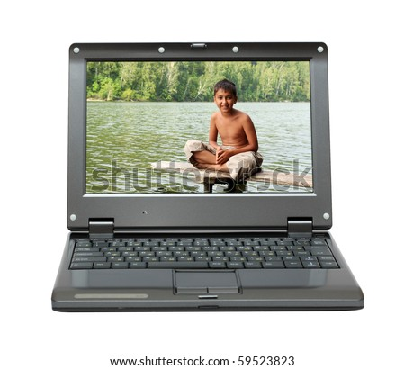 small laptop with vacations theme on screen - stock photo