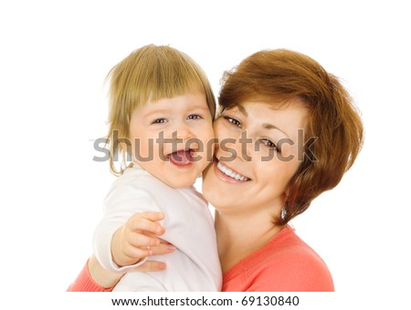 Small laughing baby in red with mother isolated - stock photo