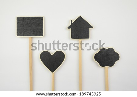 Small layouts, icons cloud, heart, and house on white background - stock photo