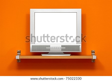 Small LCD TV with blank white screen - stock photo