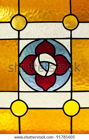 Small leadlight and stained glass window in a residential house - stock photo