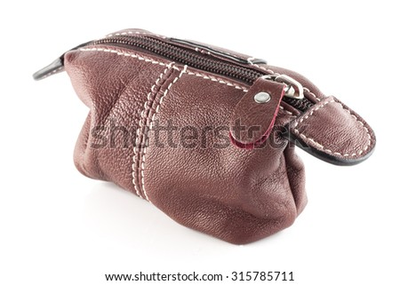 Small leather bag isolated on white