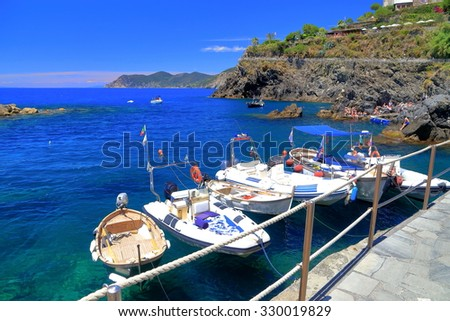 Small leisure and fishing boats in Manarola harbor, Cinque Terre, Italy - stock photo