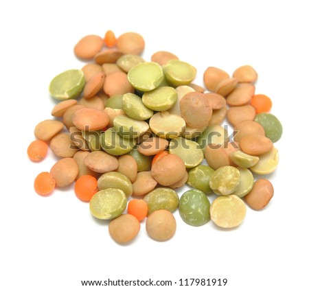 small lentils, chickpeas, isolated on white background - stock photo