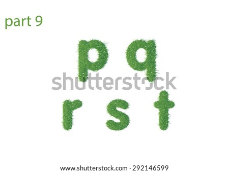 Small letter p q r s t texture green grass - stock photo