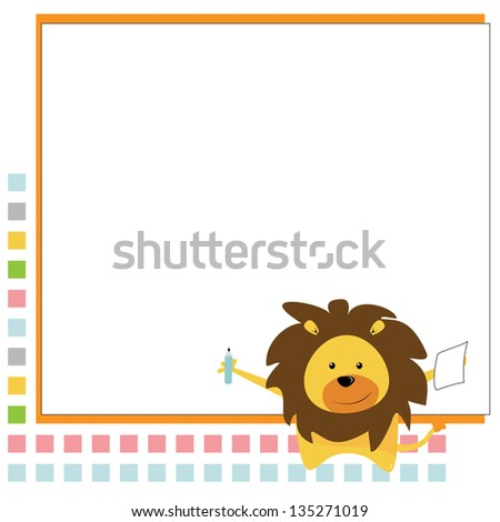 small lion learning - stock photo