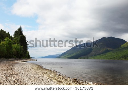 small loch on the road to fort william - stock photo