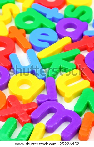 Small magnet letters close up