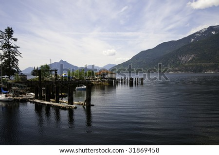 Small marina by Squamish highway on the way to whistler B.C. - stock photo