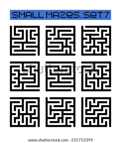 small mazes set 7 - stock photo
