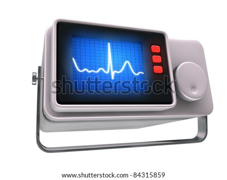 small medical monitor isolated on white background - stock photo
