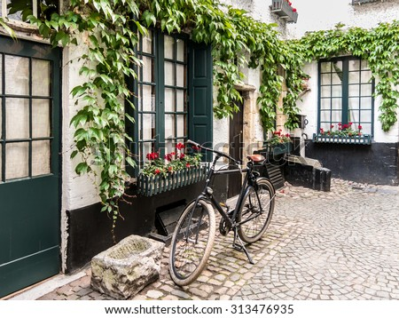 Small medieval alley called Vlaeykensgang in the city centre of Antwerp in Flanders, Belgium