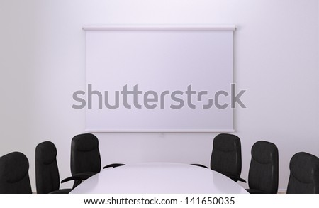 Small Meeting Room. Clipping path around screen - stock photo