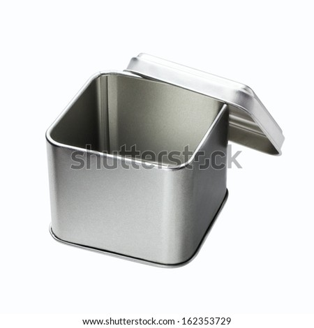 Small Metal box isolated on a white background - Open