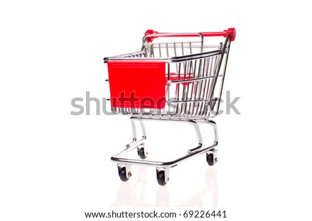 small metal shopping cart isloted on white - stock photo